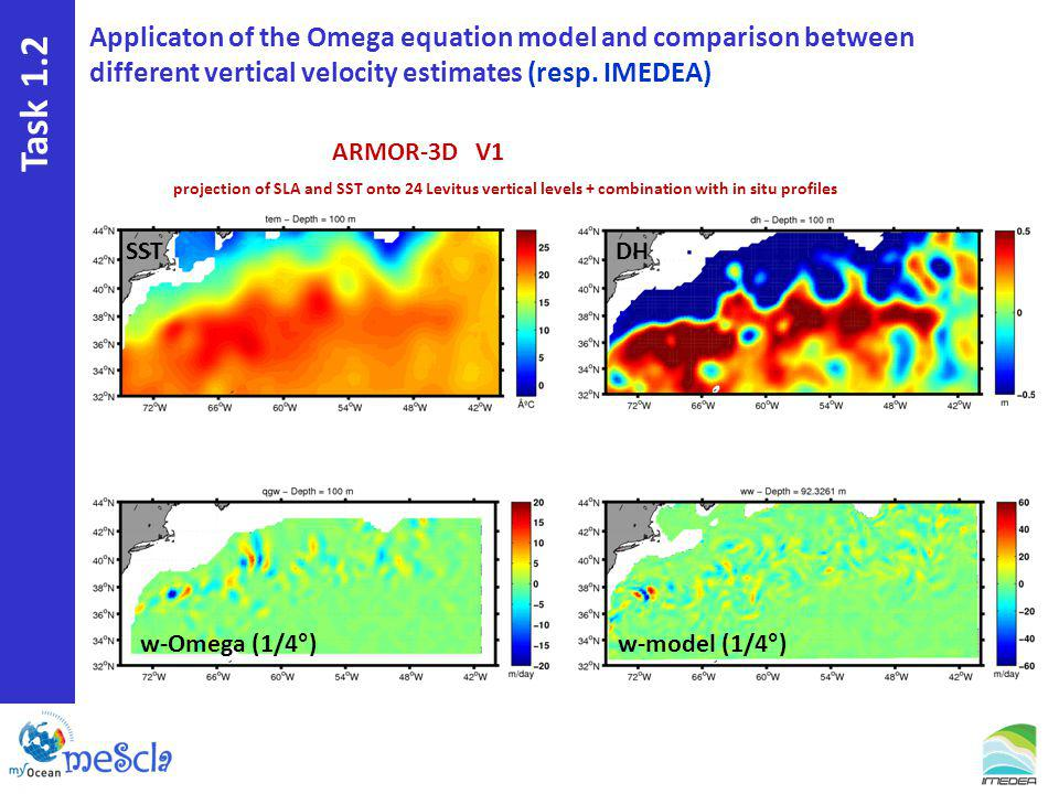 Task 1.2 ARMOR-3D V1 projection of SLA and SST onto 24 Levitus vertical levels + combination with in situ profiles Applicaton of the Omega equation model and comparison between different vertical velocity estimates (resp.