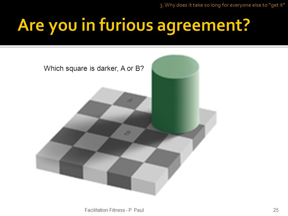 Which square is darker, A or B? 3. Why does it take so long for everyone else to get it 25Facilitation Fitness - P. Paul