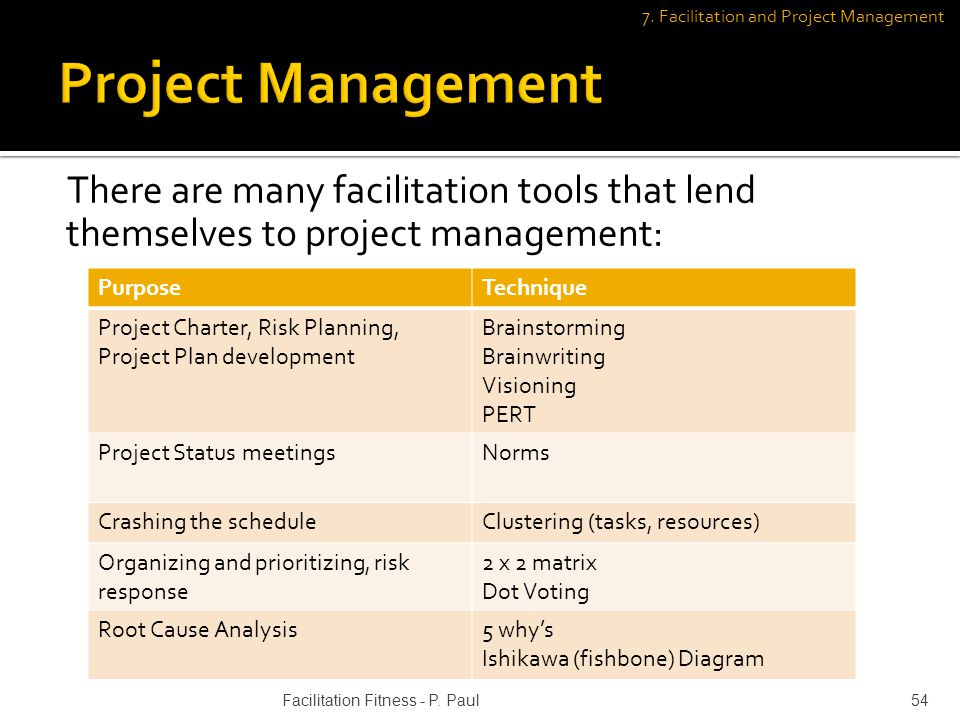 There are many facilitation tools that lend themselves to project management: PurposeTechnique Project Charter, Risk Planning, Project Plan developmen