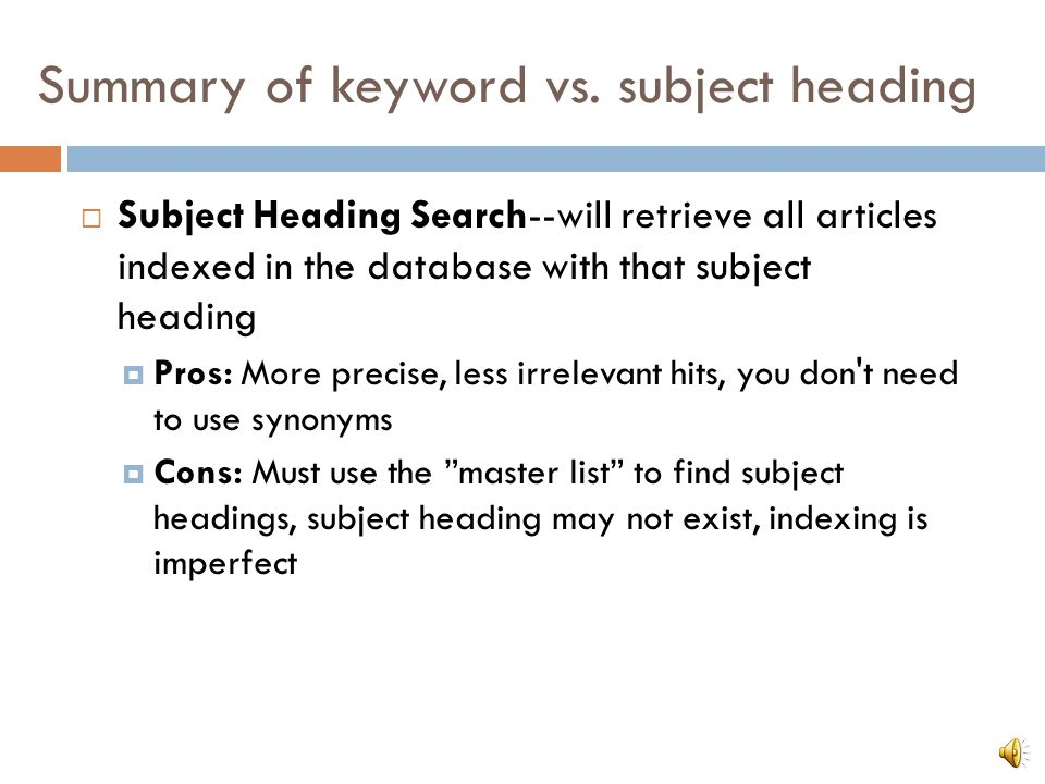Summary of keyword vs.