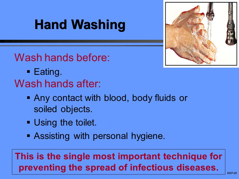 BBP-20 Hand Washing Wash hands before: Eating. Wash hands after: Any contact with blood, body fluids or soiled objects. Using the toilet. Assisting wi