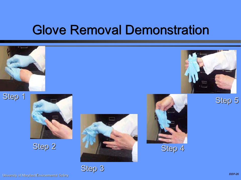 BBP-26 Glove Removal Demonstration Step 1 Step 2 Step 3 Step 4 Step 5 University of Maryland Environmental Safety