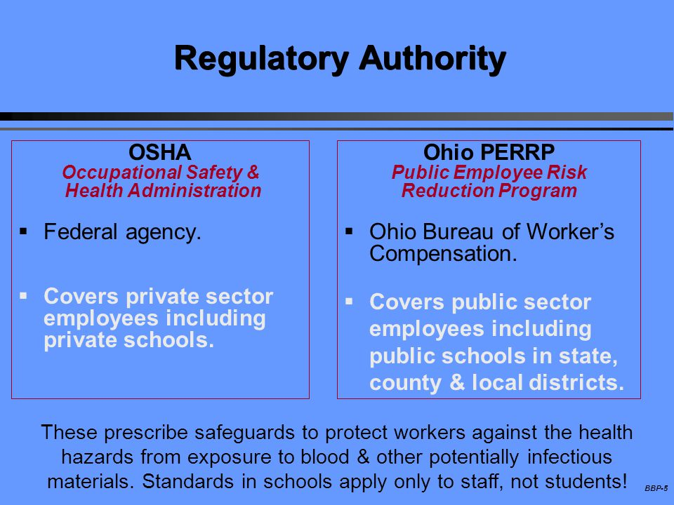 BBP-5 Regulatory Authority OSHA Occupational Safety & Health Administration Federal agency. Covers private sector employees including private schools.
