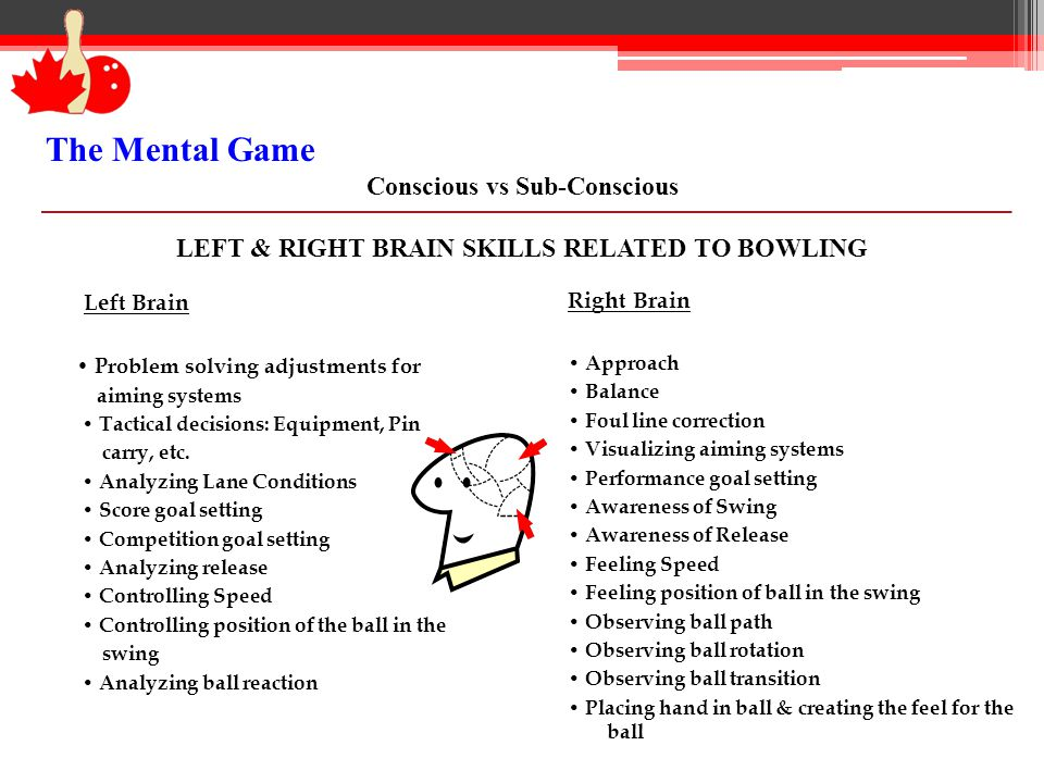 Left Brain Problem solving adjustments for aiming systems Tactical decisions: Equipment, Pin carry, etc. Analyzing Lane Conditions Score goal setting