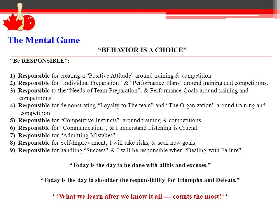 The Mental Game TAKING CONTROL Can we control Emotions.