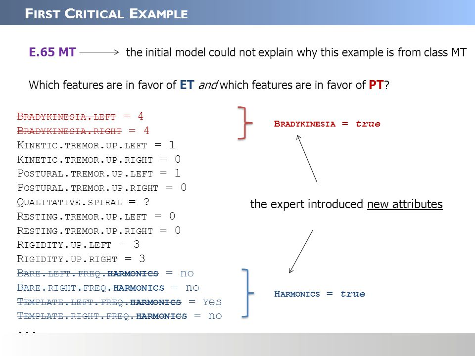 ET: H ARMONICS = true PT: B RADYKINESIA = true C OUNTER E XAMPLES E.65 MT the critical example arguments attached to E.65 E.67 (PT) E.12 (ET) Counter examples: What is the most important feature in favor of ET in E.65 that does not apply to E.67.