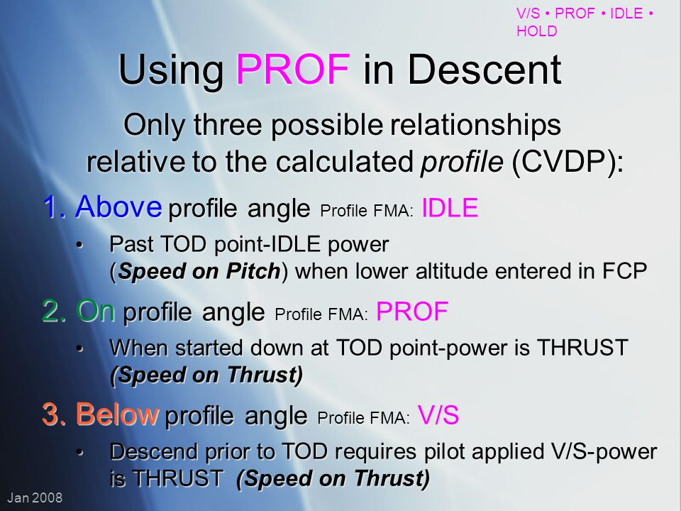 V/S PROF IDLE HOLD Jan 2008 Using PROF in Descent Only three possible relationships relative to the calculated profile (CVDP): 1.Above profile angle P