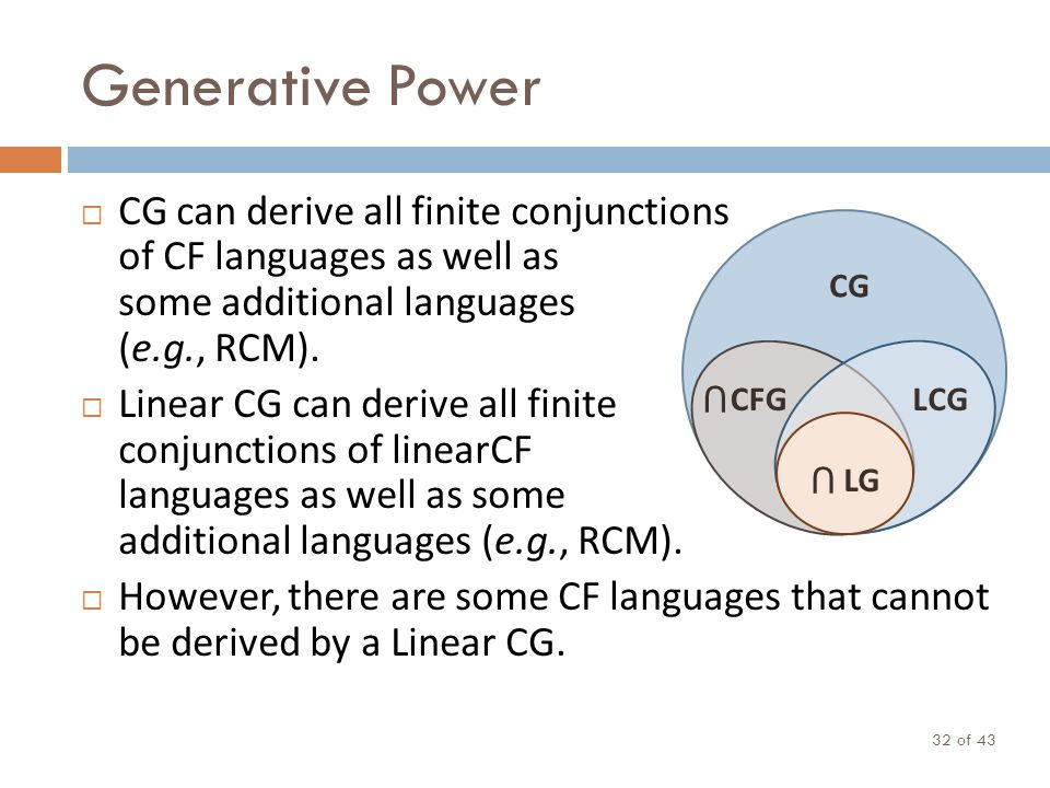 Generative Power of 43 32 CG can derive all finite conjunctions of CF languages as well as some additional languages (e.g., RCM). Linear CG can derive