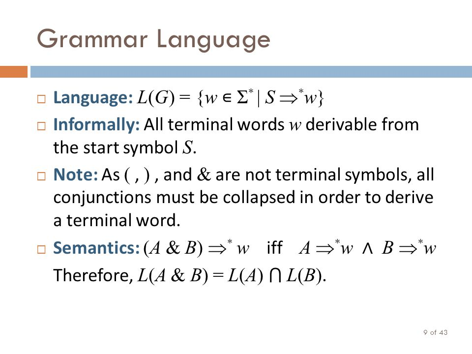 Grammar Language of 43 9 Language: L(G) = {w Σ * | S * w} Informally: All terminal words w derivable from the start symbol S.