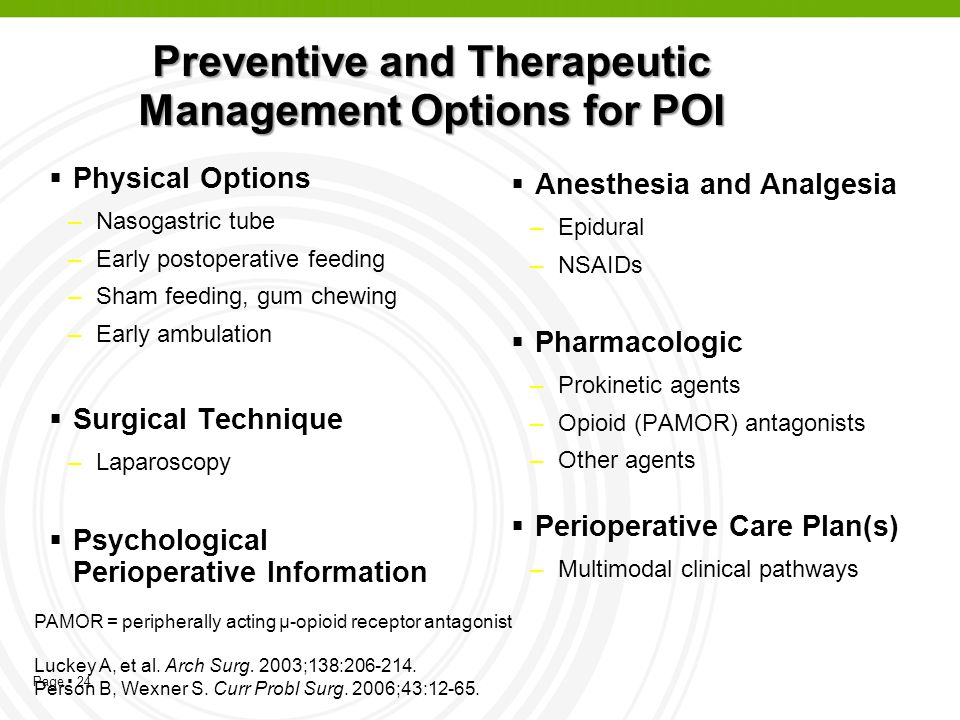 Page 24 Preventive and Therapeutic Management Options for POI Physical Options –Nasogastric tube –Early postoperative feeding –Sham feeding, gum chewi
