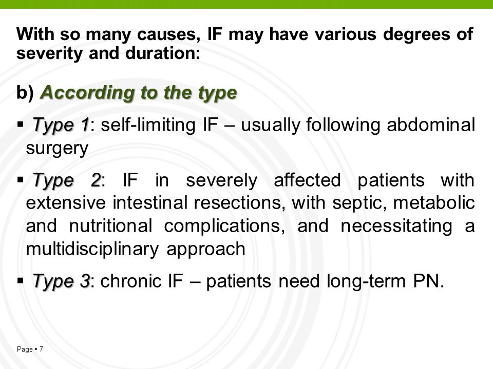 Page 7 With so many causes, IF may have various degrees of severity and duration: According to the type b) According to the type Type 1 Type 1: self-l