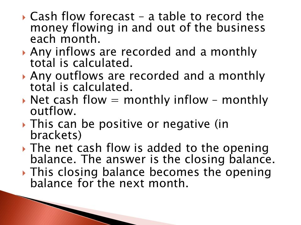 Cash inflows will be from sales revenue, bank loans or the sale of assets or shares.