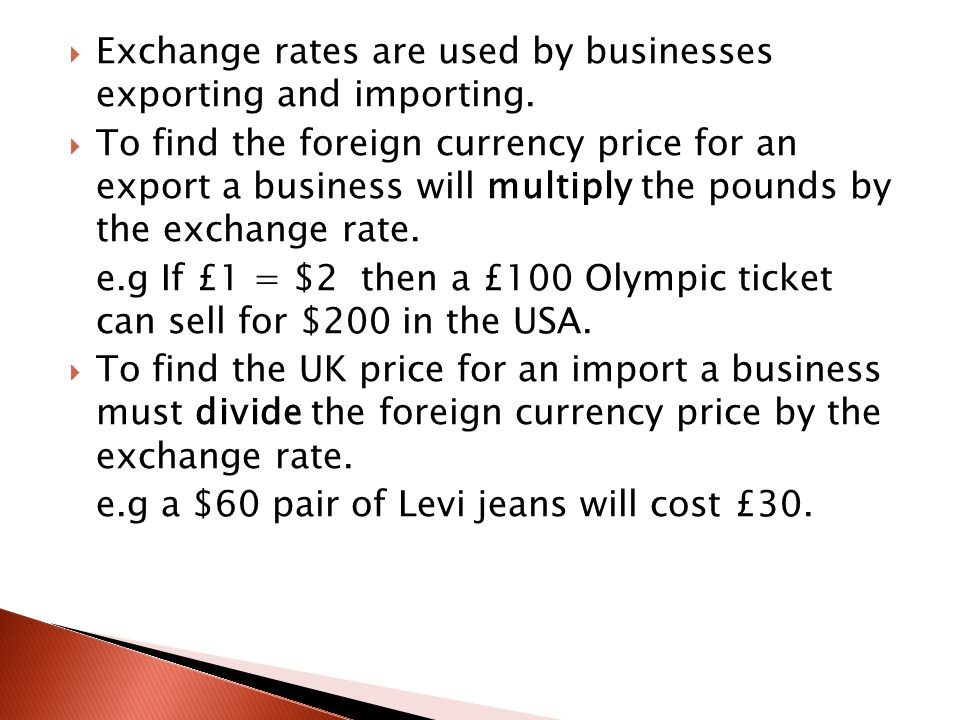 S-Strong- this means the pound is worth more e.g £1 =$2 becomes £1 = $3 P-Pound I-Imports C-Cheap E-Exports D-Dear