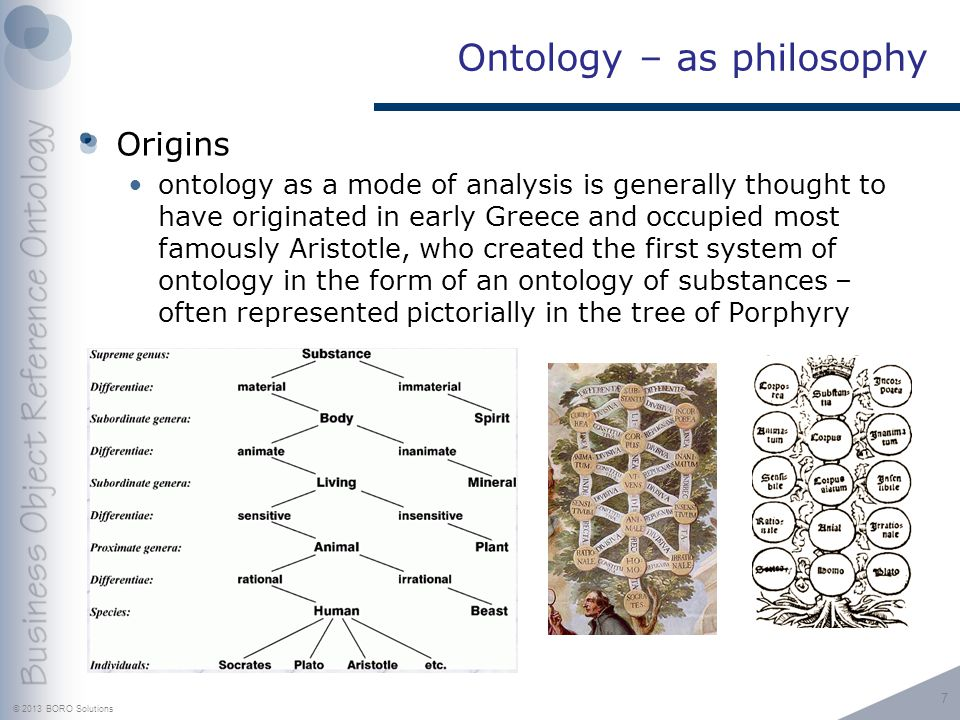 © 2013 BORO Solutions Ontology – as philosophy Origins ontology as a mode of analysis is generally thought to have originated in early Greece and occupied most famously Aristotle, who created the first system of ontology in the form of an ontology of substances – often represented pictorially in the tree of Porphyry 7