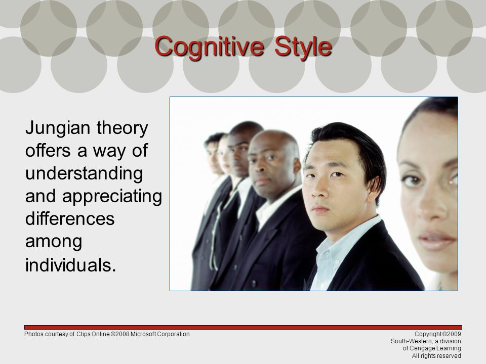 Copyright ©2009 South-Western, a division of Cengage Learning All rights reserved Cognitive Style Jungian theory offers a way of understanding and app