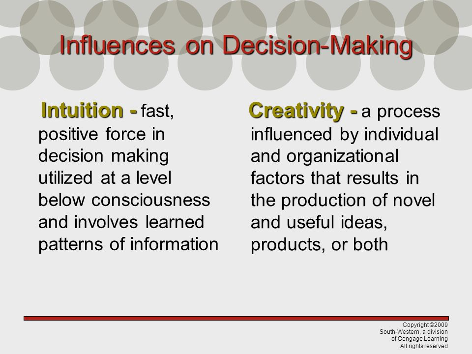 Copyright ©2009 South-Western, a division of Cengage Learning All rights reserved Influences on Decision-Making Intuition - Intuition - fast, positive