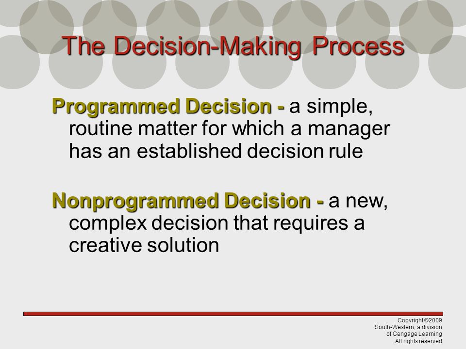 Copyright ©2009 South-Western, a division of Cengage Learning All rights reserved The Decision-Making Process Programmed Decision - Programmed Decisio