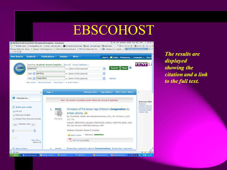 EBSCOHOST The results are displayed showing the citation and a link to the full text.