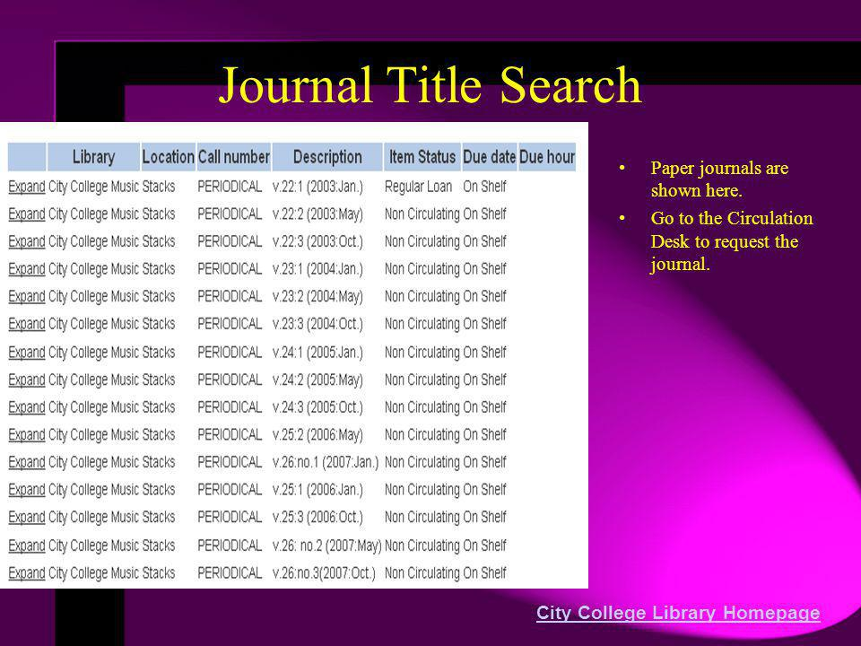 Journal Title Search Paper journals are shown here. Go to the Circulation Desk to request the journal. City College Library Homepage