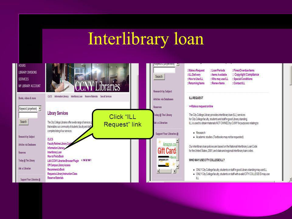 Click ILL Request link Interlibrary loan