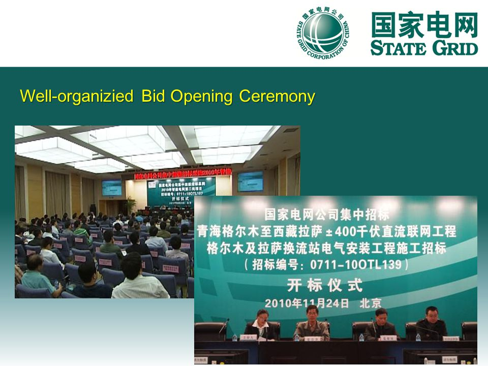 Well-organizied Bid Opening Ceremony