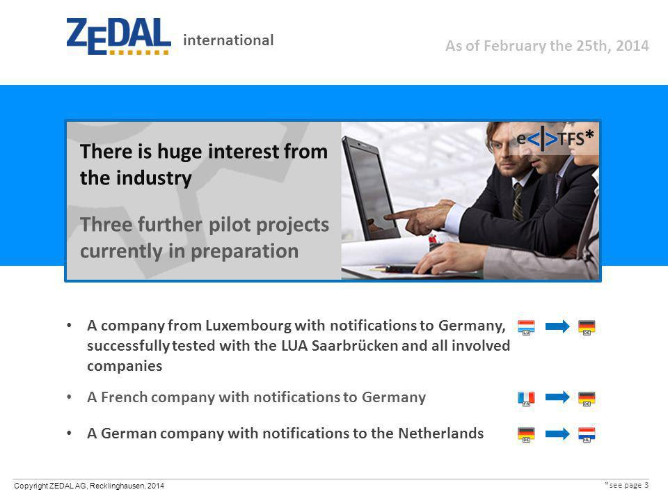 Copyright ZEDAL AG, Recklinghausen, 2014 A company from Luxembourg with notifications to Germany, successfully tested with the LUA Saarbrücken and all