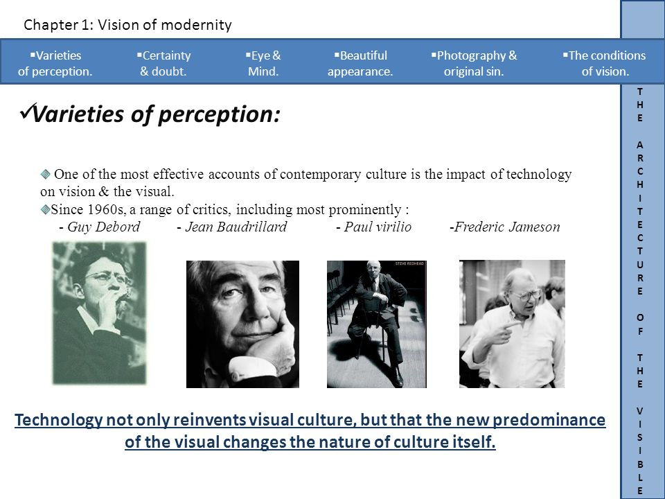 THEARCHITECTUREOFTHEVISIBLETHEARCHITECTUREOFTHEVISIBLE Chapter 1: Vision of modernity Varieties of perception.