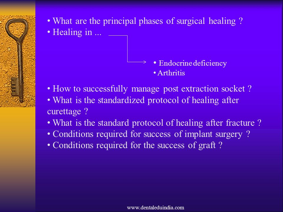 www.dentaleduindia.com What are the principal phases of surgical healing ? Healing in... How to successfully manage post extraction socket ? What is t