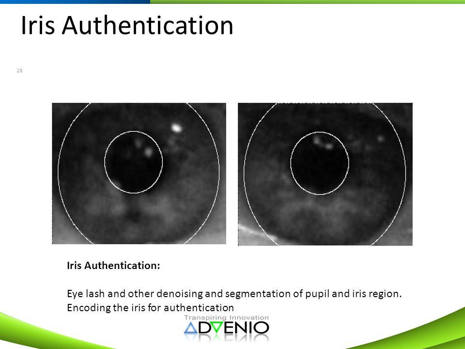 Iris Authentication 26 Iris Authentication: Eye lash and other denoising and segmentation of pupil and iris region. Encoding the iris for authenticati