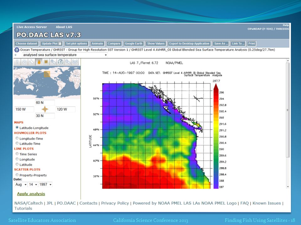 Satellite Educators AssociationCalifornia Science Conference 2013 Finding Fish Using Satellites - 18