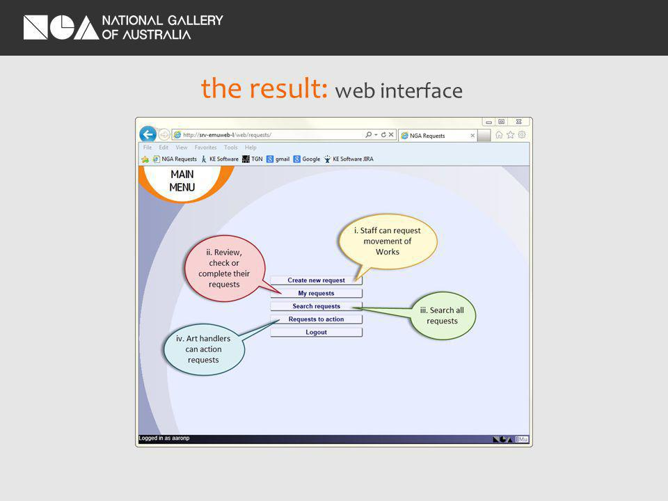 the result: web interface