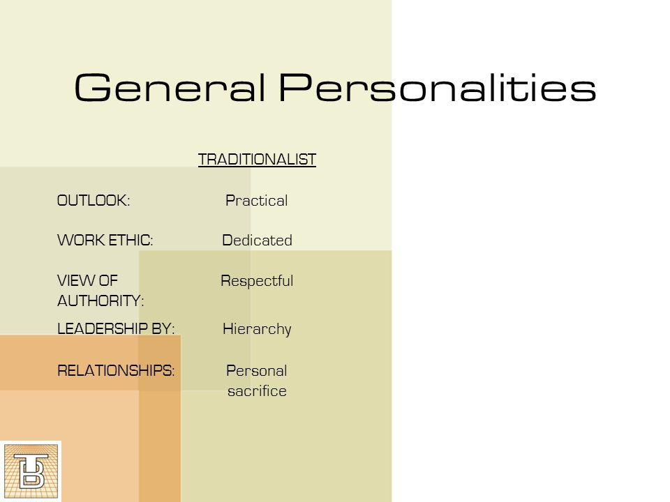 General Personalities TRADITIONALISTBABY BOOM OUTLOOK:PracticalOptimistic WORK ETHIC:DedicatedDriven VIEW OF AUTHORITY: RespectfulLove/ hate LEADERSHIP BY:HierarchyConsensus RELATIONSHIPS:Personal sacrificePersonal Gratification