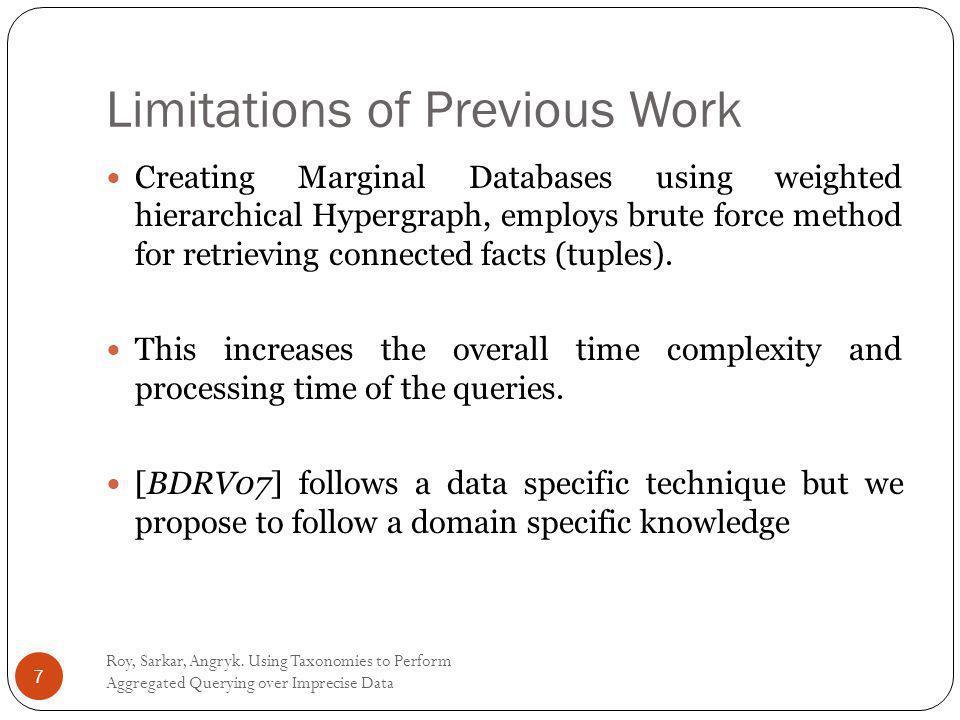 Limitations of Previous Work Roy, Sarkar, Angryk.