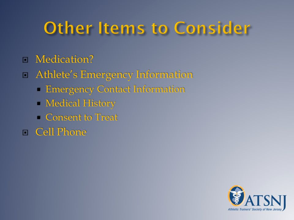 Medication? Medication? Athletes Emergency Information Athletes Emergency Information Emergency Contact Information Emergency Contact Information Medi