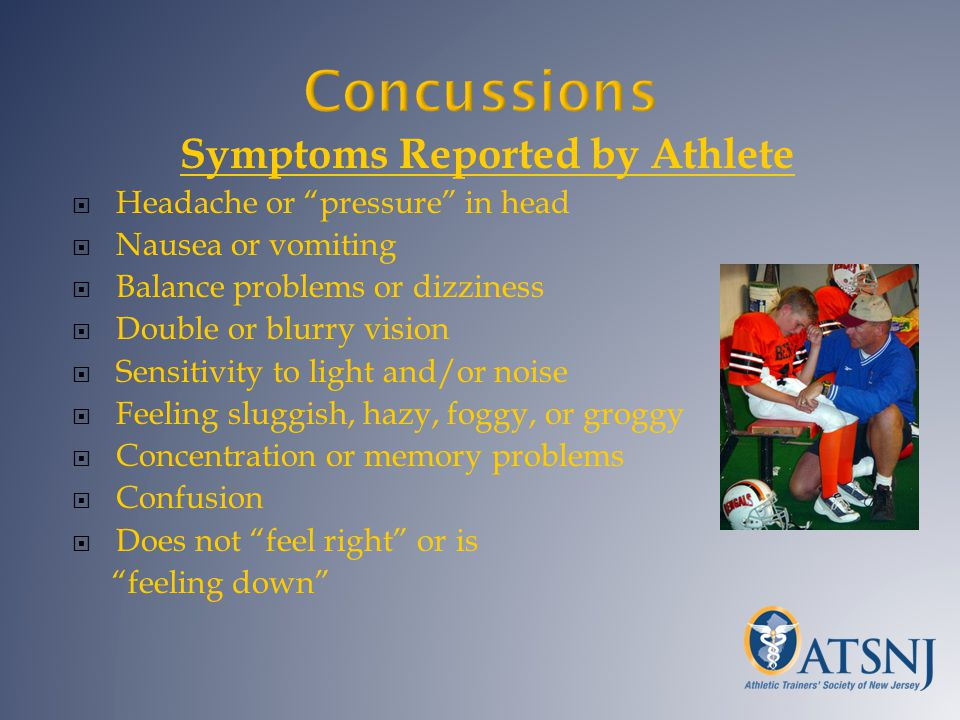 Concussions Symptoms Reported by Athlete Headache or pressure in head Nausea or vomiting Balance problems or dizziness Double or blurry vision Sensiti