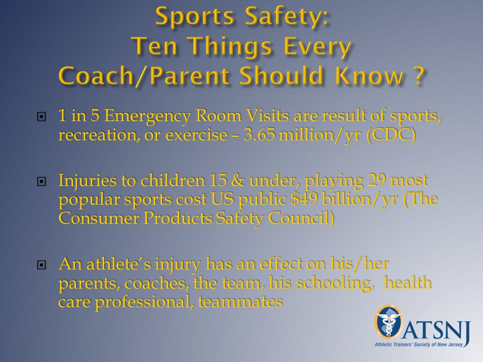 1 in 5 Emergency Room Visits are result of sports, recreation, or exercise – 3.65 million/yr (CDC) 1 in 5 Emergency Room Visits are result of sports,