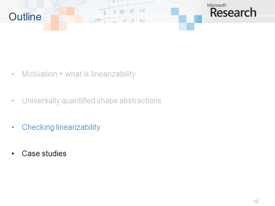 Motivation + what is linearizability Universally quantified shape abstractions Checking linearizability Case studies 15 Outline