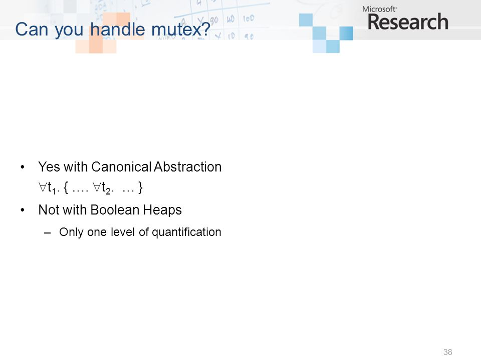 Can you handle mutex. Yes with Canonical Abstraction t 1.