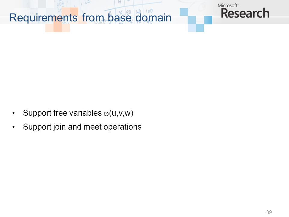 Support free variables (u,v,w) Support join and meet operations 39 Requirements from base domain