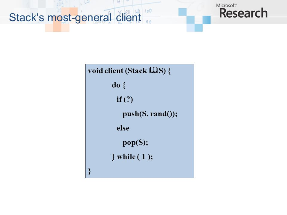 Stack s most-general client void client (Stack S) { do { if ( ) push(S, rand()); else pop(S); } while ( 1 ); }