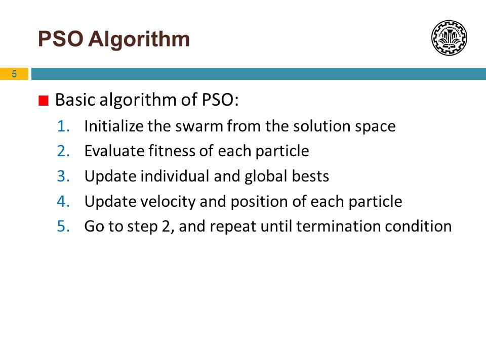 6 PSO Algorithm (cont.) Original velocity update equation: with : acceleration constant Inertia Cognitive ComponentSocial Component