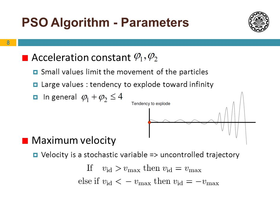 8 PSO Algorithm - Parameters Acceleration constant Small values limit the movement of the particles Large values : tendency to explode toward infinity