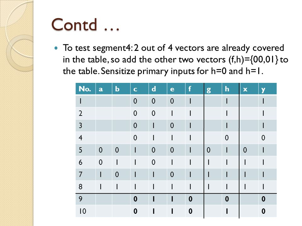 Contd … To test segment4: 2 out of 4 vectors are already covered in the table, so add the other two vectors (f,h)={00,01} to the table.