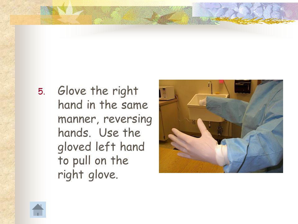 4.Grasp the top of the left glove and underlying gown sleeve with the covered right hand.