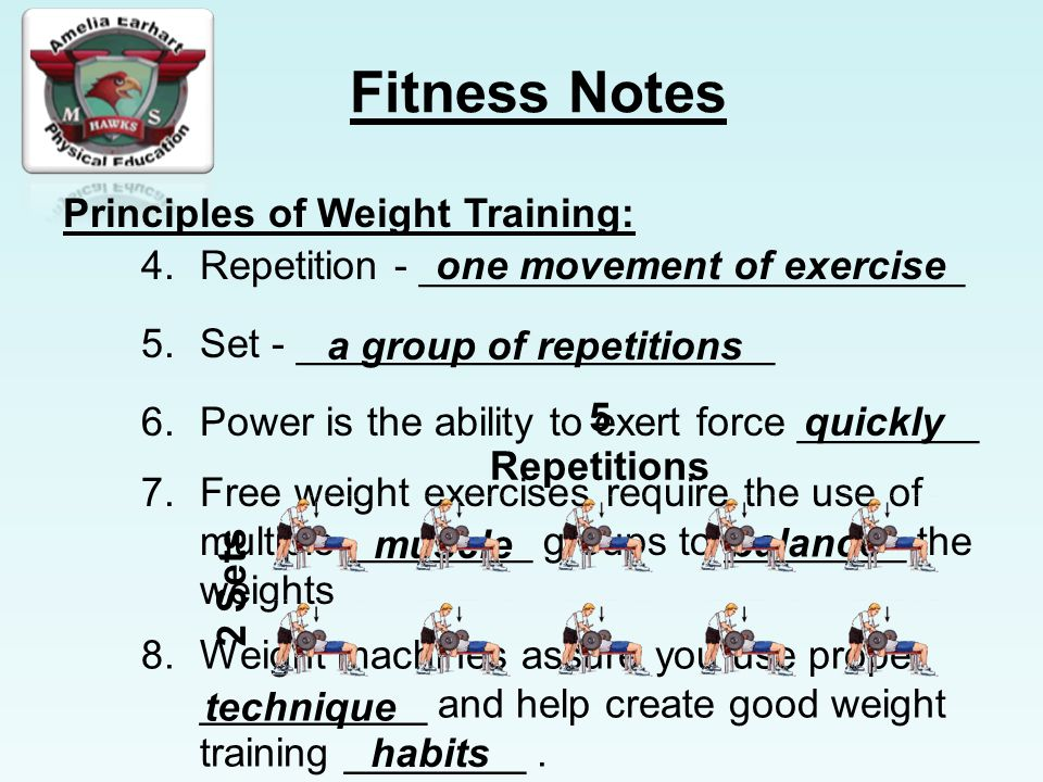 Fitness Notes Principles of Weight Training: 4.Repetition - ________________________one movement of exercise 5.Set - _____________________ a group of repetitions 6.Power is the ability to exert force ________quickly 7.Free weight exercises require the use of multiple ________ groups to ________ the weights muscle balance 8.Weight machines assure you use proper __________ and help create good weight training ________.