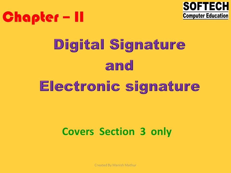 Chapter – II Covers Section 3 only Created By Manish Mathur