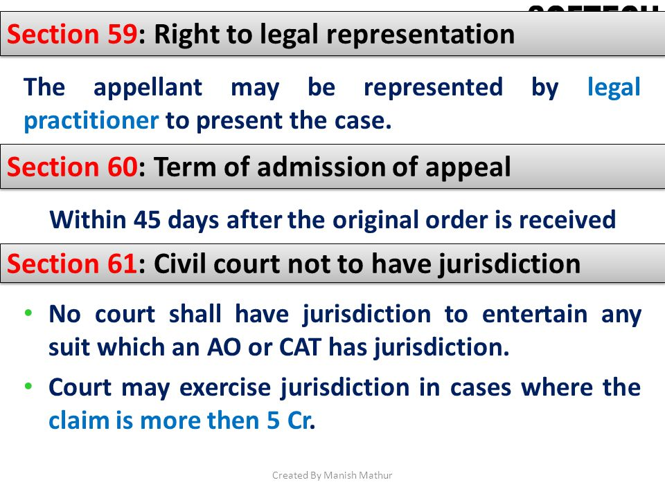 Section 59: Right to legal representation The appellant may be represented by legal practitioner to present the case. Section 60: Term of admission of