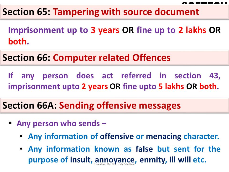Section 65: Tampering with source document Imprisonment up to 3 years OR fine up to 2 lakhs OR both. Section 66: Computer related Offences If any pers