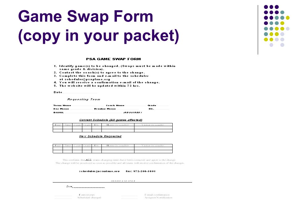 Game Swap Form (copy in your packet)