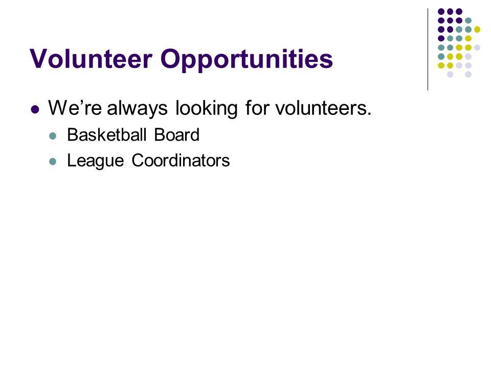 Volunteer Opportunities Were always looking for volunteers. Basketball Board League Coordinators